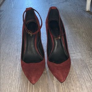 7 For All Mankind burgundy wedged shoe